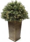 Напольный новогодний LED-декор из искусственной хвои в вазоне 90см, 150 веток