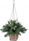 Подвесное новогоднее кашпо с декором из искусственной хвои 45см, 92 ветки