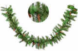 Декоративная искусственная еловая гирлянда 180 веток, 272см, 20 шишек