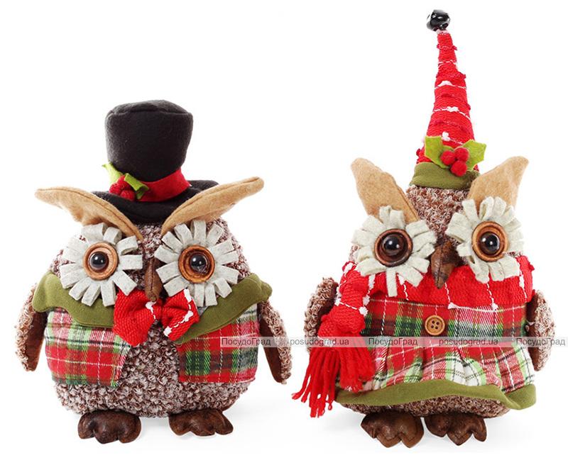"""Новогодняя мягкая игрушка """"Нарядная сова"""" 20см"""