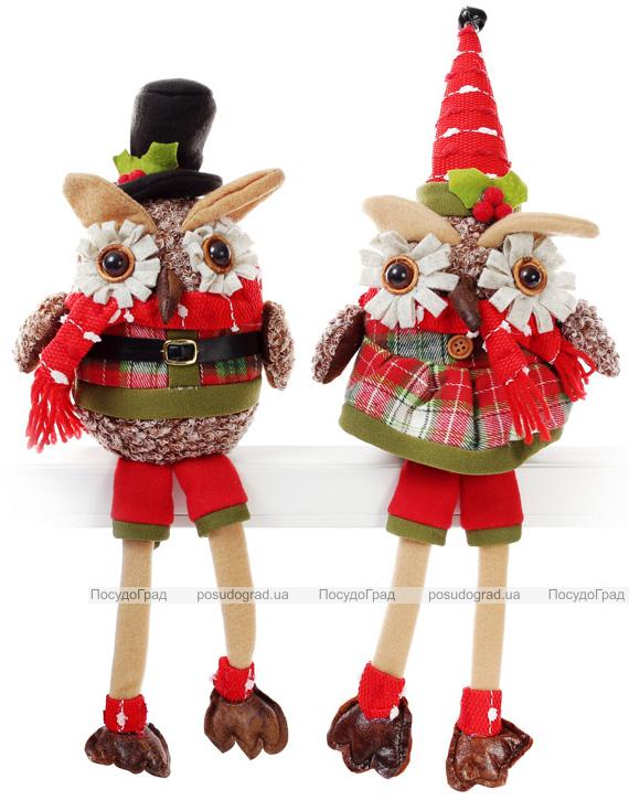 """Новогодняя мягкая игрушка """"Нарядная сова"""" 37.5см сидящая"""