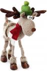 """Новогодняя мягкая игрушка """"Олень в зеленой шапке"""" 75см"""