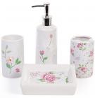 """Набор для ванной """"Цветы"""" дозатор, подставка для щеток, стакан, мыльница"""