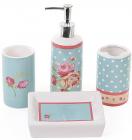 """Набір для ванної """"Троянди"""" дозатор, підставка для щіток, стакан, мильниця"""