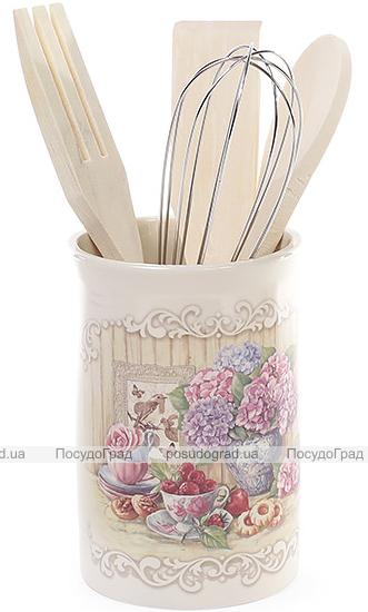 """Подставка """"Гортензия"""" для кухонных принадлежностей + деревянные лопатки и венчик"""