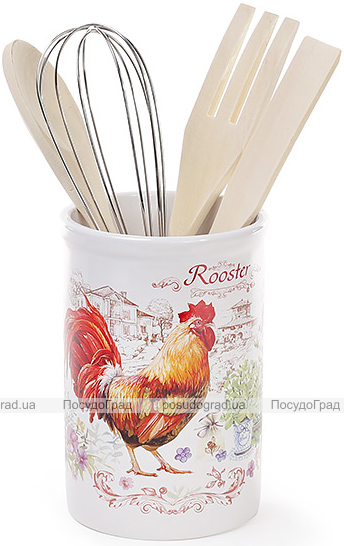 """Подставка """"Огненный Петух"""" для кухонных принадлежностей + деревянные лопатки и венчик"""