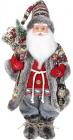 Фігура «Санта з ліхтариком» 46см (м'яка іграшка), червоний з сірим