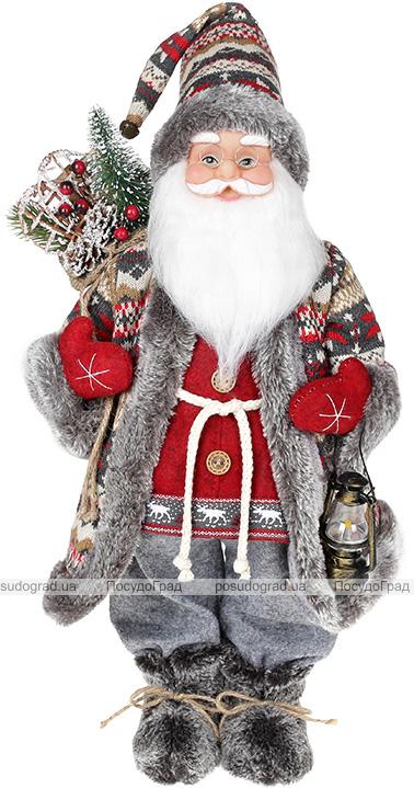 Фигура «Санта с фонариком» 46см (мягкая игрушка), красный с серым