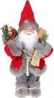 Фігура «Санта з лижами» 30см (м'яка іграшка), червоний з сірим