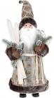 Фігура «Санта з лижами» 46см (м'яка іграшка), бежевий з сірим