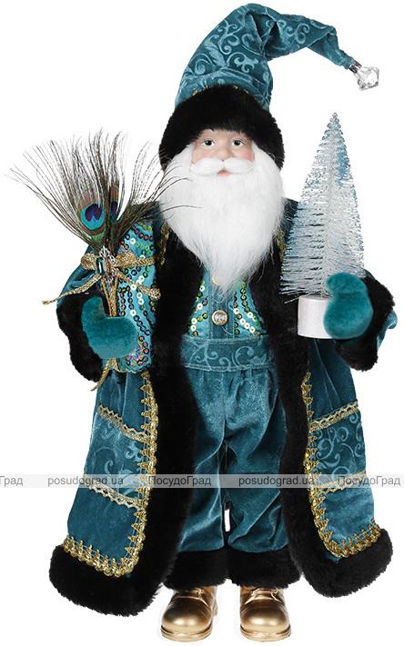 Фигура «Санта с елочкой» 46см (мягкая игрушка), бирюза с черным