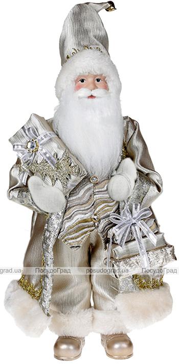 Фігура «Санта з подарунками» 46см (м'яка іграшка), шампань