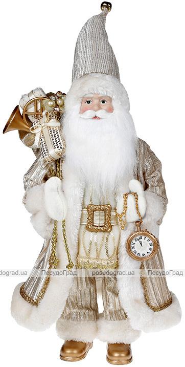 Фигура «Санта с часами» 46см (мягкая игрушка), шампань