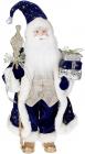 Фігура «Санта з посохом» 46см (м'яка іграшка), синій з шампанню