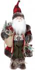Фигура «Санта с фонариком» 46см (мягкая игрушка), красный с черным