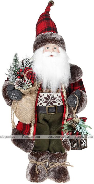 Фігура «Санта з ліхтариком» 46см (м'яка іграшка), червоний з чорним