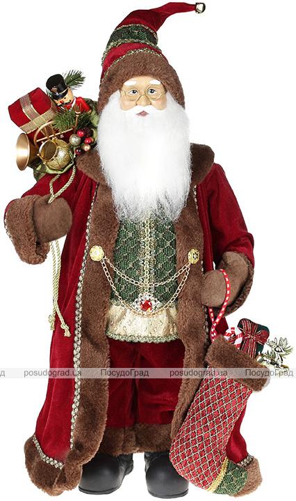Фігура «Санта з носком» 60см (м'яка іграшка), бордо з коричневим