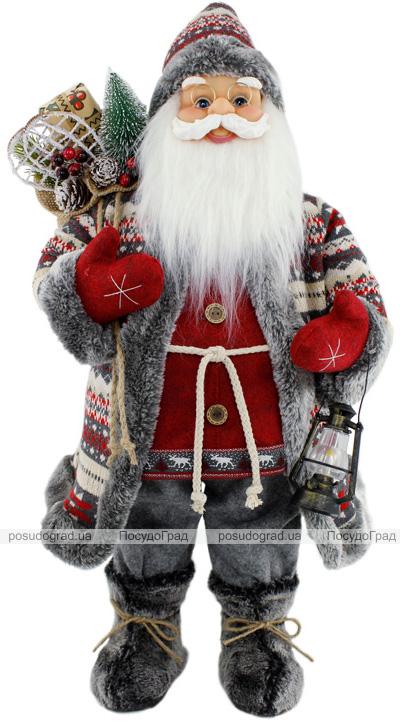 Фігура «Санта з ліхтариком» 60см (м'яка іграшка), червоний з сірим