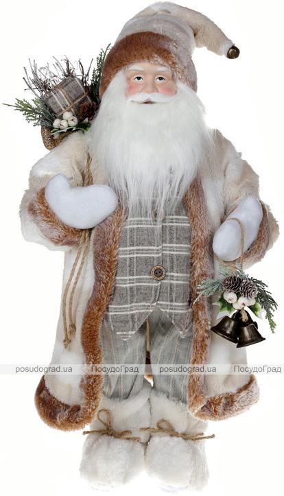 Фигура «Санта с колокольчиками» 60см (мягкая игрушка), белый крем