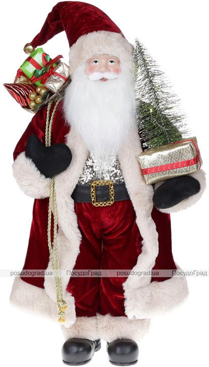Фігура «Санта з ялинкою» 60см (м'яка іграшка), з LED підсвічуванням, бордо