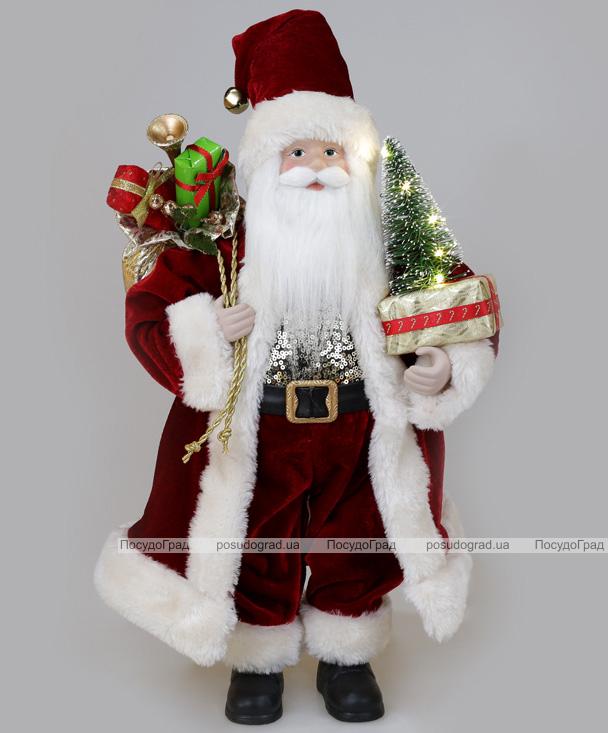 Фігура «Санта з ялинкою» 46см (м'яка іграшка), з LED підсвічуванням, бордо