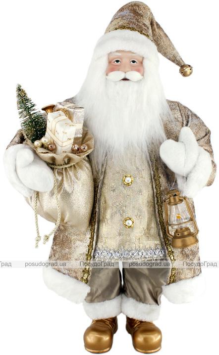 Фігура «Санта з ліхтариком» 60см (м'яка іграшка), бежевий