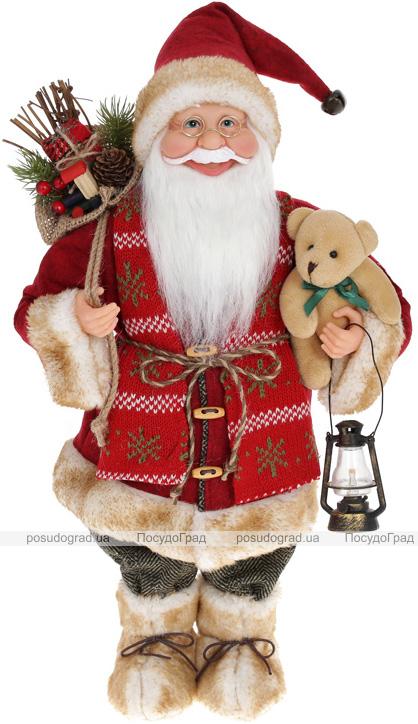 """Мягкая игрушка """"Санта с мешком, фонарем и Мишкой"""" 46см, красный"""