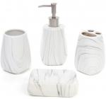 "Набор аксессуаров ""Мрамор"" для ванной комнаты: дозатор, подставка для зубных щеток, стакан, мыльница"