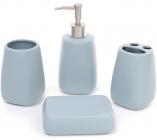 """Набір аксесуарів """"Blue"""" для ванної кімнати: дозатор, підставка для зубних щіток, стакан, мильниця"""