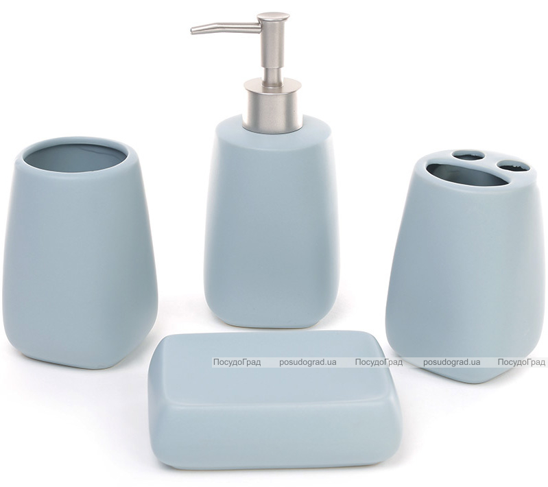 """Набор аксессуаров """"Blue"""" для ванной комнаты: дозатор, подставка для зубных щеток, стакан, мыльница"""
