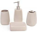 """Набір аксесуарів """"Беж"""" для ванної кімнати: дозатор, підставка для зубних щіток, стакан, мильниця"""