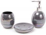Набір аксесуарів Bright для ванної кімнати 3 предмета, сірий перламутр, кераміка