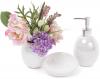 Набор аксессуаров Bright для ванной комнаты 3 предмета, белый перламутр, керамика