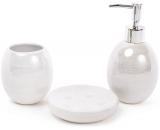 Набір аксесуарів Bright для ванної кімнати 3 предмета, білий перламутр, кераміка