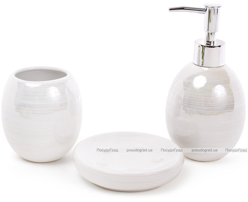 """Набір аксесуарів Bright """"Nacre"""" для ванної кімнати 3 предмета, білий перламутр, кераміка"""