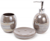 Набір аксесуарів Bright для ванної кімнати 3 предмета, хакі, кераміка