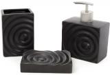 Набір аксесуарів Bright для ванної кімнати 3 предмета, чорний, кераміка