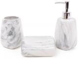 """Набір аксесуарів Bright для ванної кімнати 3 предмета """"Сірий мармур"""" кераміка"""
