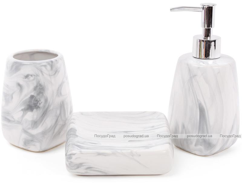 "Набор аксессуаров Bright для ванной комнаты 3 предмета ""Серый мрамор"" керамика"