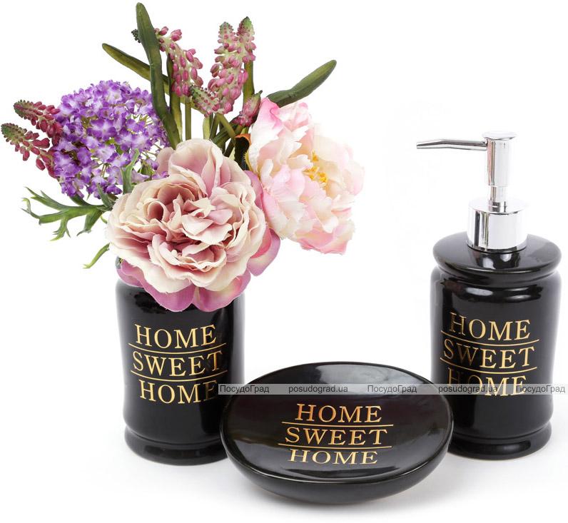 "Набор аксессуаров Bright ""Home Sweet Home"" 3 предмета, черный, керамика"