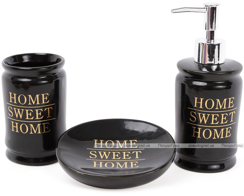 "Набір аксесуарів Bright ""Home Sweet Home"" 3 предмета, чорний, кераміка"