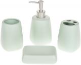 """Набір аксесуарів """"Mint"""" для ванної кімнати: дозатор, підставка для зубних щіток, стакан, мильниця"""