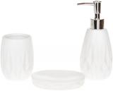 """Набор аксессуаров Bright """"Ромбы"""" для ванной комнаты 3 предмета, белый, керамика"""