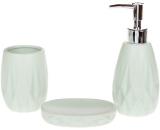 """Набір аксесуарів Bright """"Ромб"""" для ванної кімнати 3 предмети, м'ятний, кераміка"""