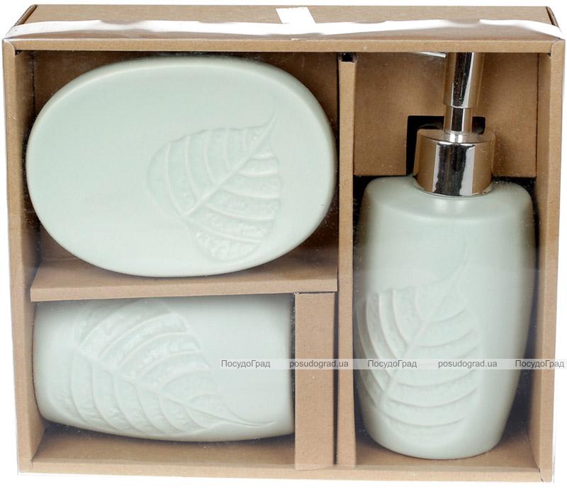 Набор аксессуаров Bright Листик для ванной комнаты 3 предмета, мятный