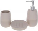 """Набір аксесуарів """"Grey Sand"""" для ванної кімнати: дозатор, стакан, мильниця"""