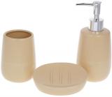 """Набір аксесуарів """"Sand"""" для ванної кімнати: дозатор, стакан, мильниця"""