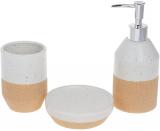 """Набір аксесуарів """"White Sand"""" для ванної кімнати: дозатор, стакан, мильниця"""
