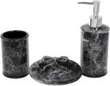 """Набор аксессуаров """"Черный мрамор"""" для ванной комнаты: дозатор, стакан, мыльница"""