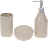 """Набір аксесуарів """"Beige"""" Bath для ванної кімнати: дозатор, стакан, мильниця"""